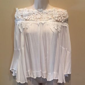 UMGEE Lace Top Off- Shoulder Bell Sleeve White